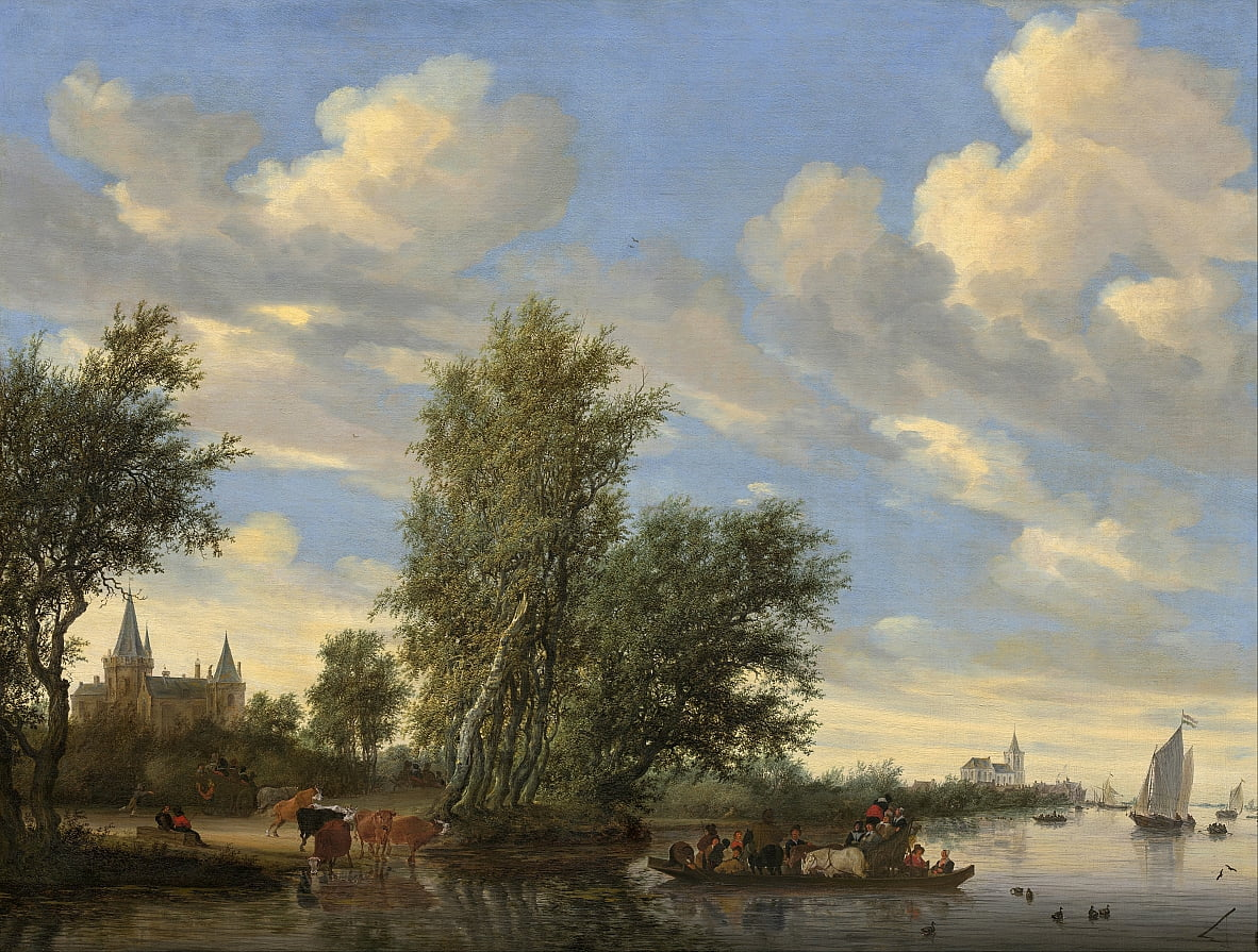 River Landscape with Ferry by Salomon van Ruisdael or Ruysdael