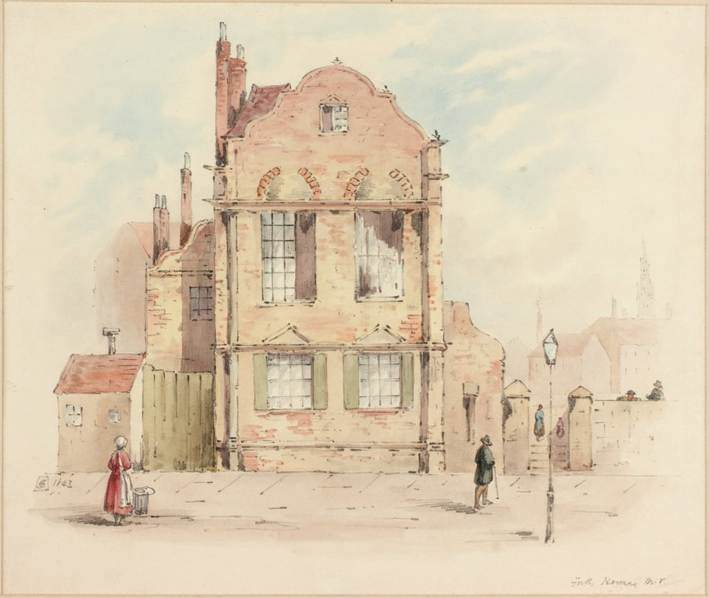 Forth House, Newcastle upon Tyne, 1843 (pencil und wc on paper) by Samuel Bilston