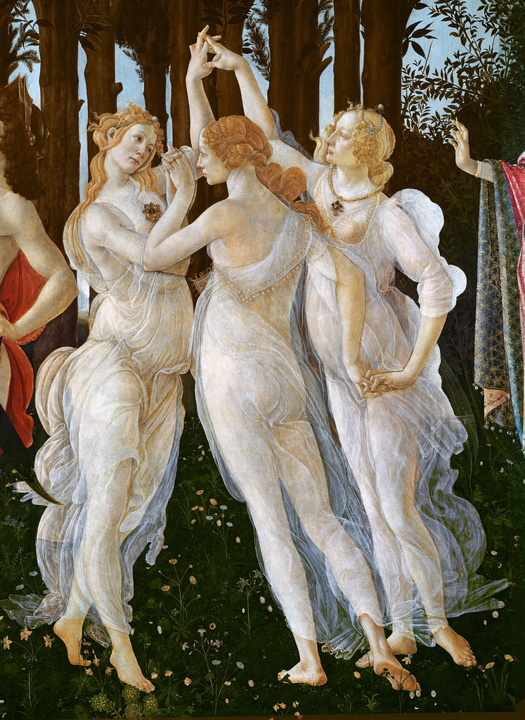 Primavera, detail of the Three Graces, 1478 tempera on panel by Sandro Botticelli