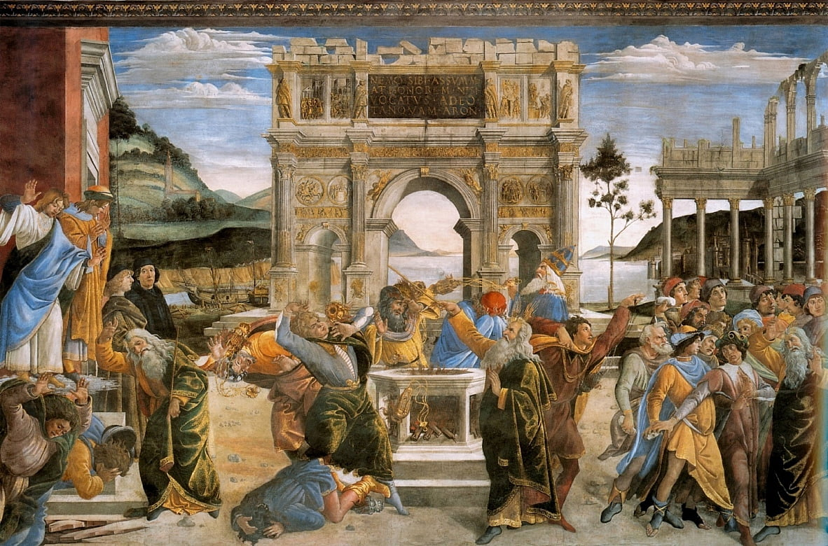 The Punishment of Korah and the Stoning of Moses and Aaron by Sandro Botticelli