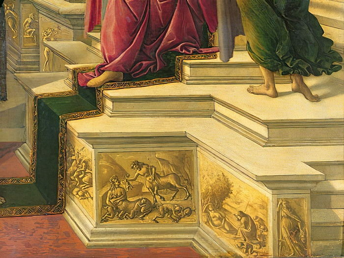 Calumny of Apelles: detail showing part of the podia decorated with simulated sculptural friezes representing classical subjects, 1497-98 panel detail of 31582 by Sandro Botticelli