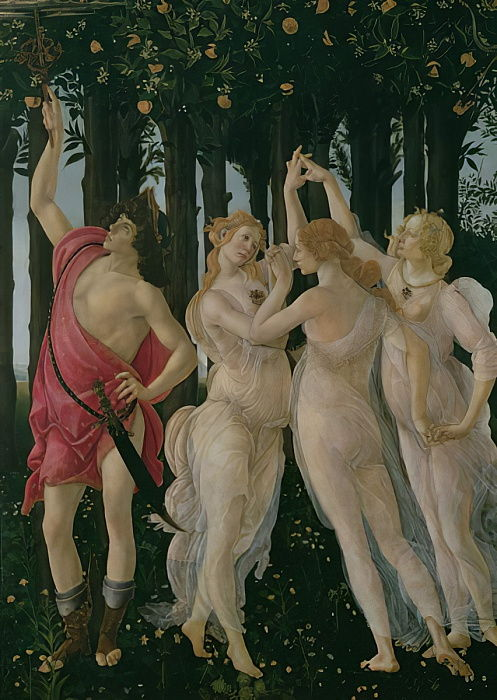 Detail of the Three Graces and Mercury, from the Primavera tempera on panel detail of 558 by Sandro Botticelli