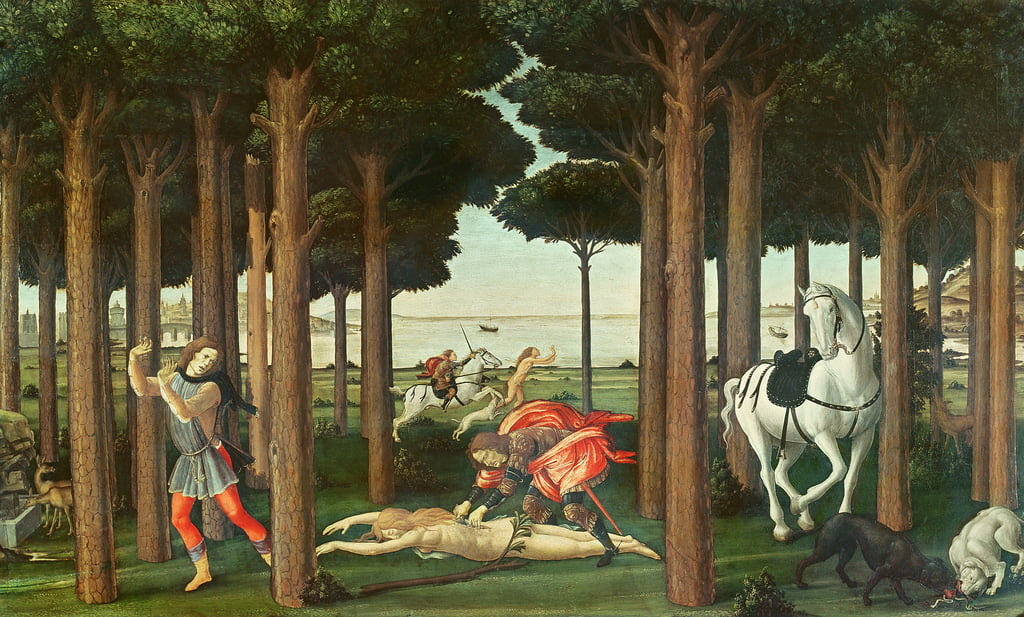 The Disembowelment of the Woman Pursued: Scene II of The Story of Nastagio degli Onesti, c.1483 (tempera on panel) by Sandro Botticelli
