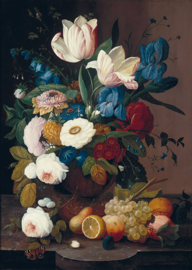 Still Life, Flowers and Fruit, 1848  by Severin Roesen