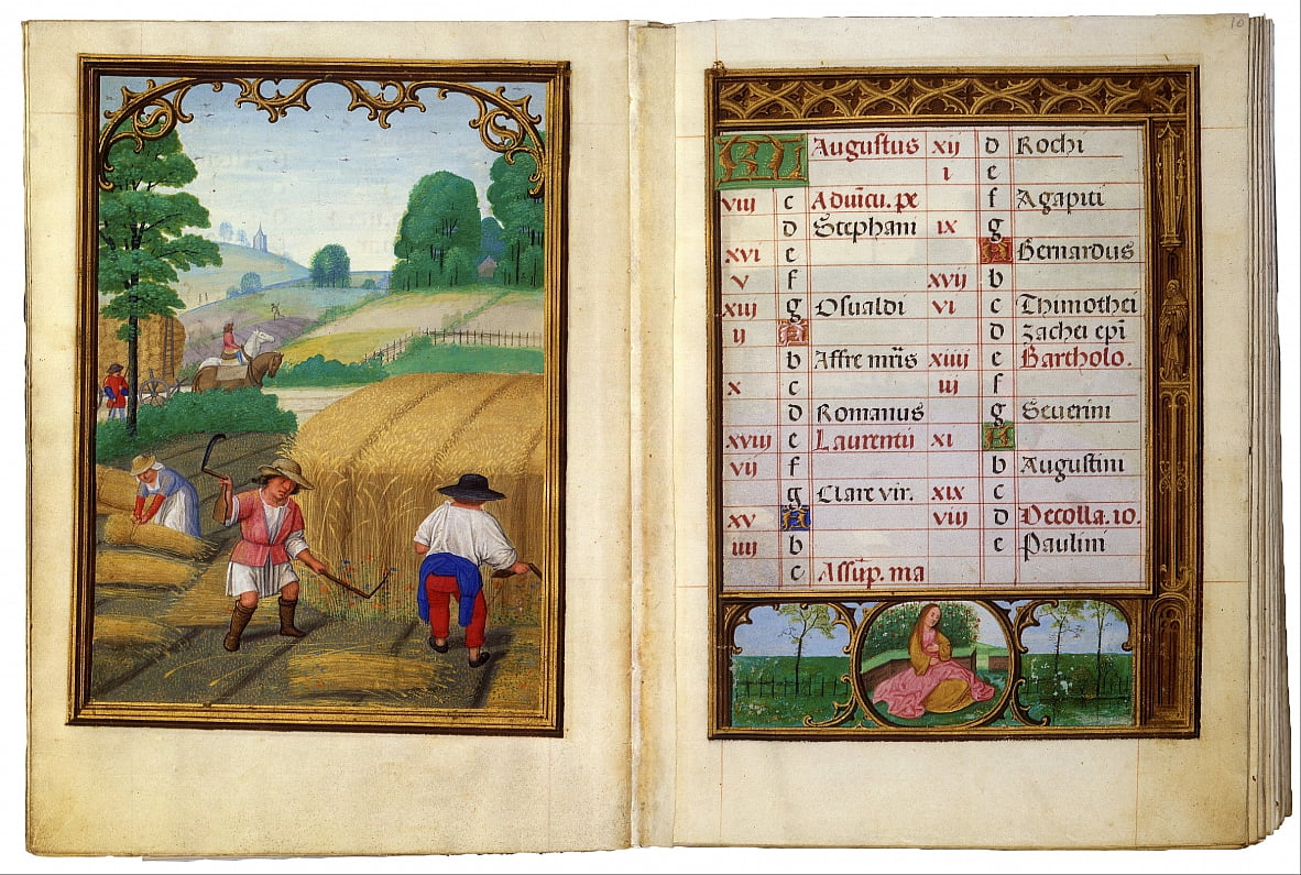 August- Moving Wheat, Binding Sheaves by Simon Bening