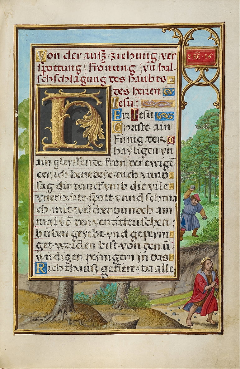 Border with Shimei Throwing Stones at David by Simon Bening