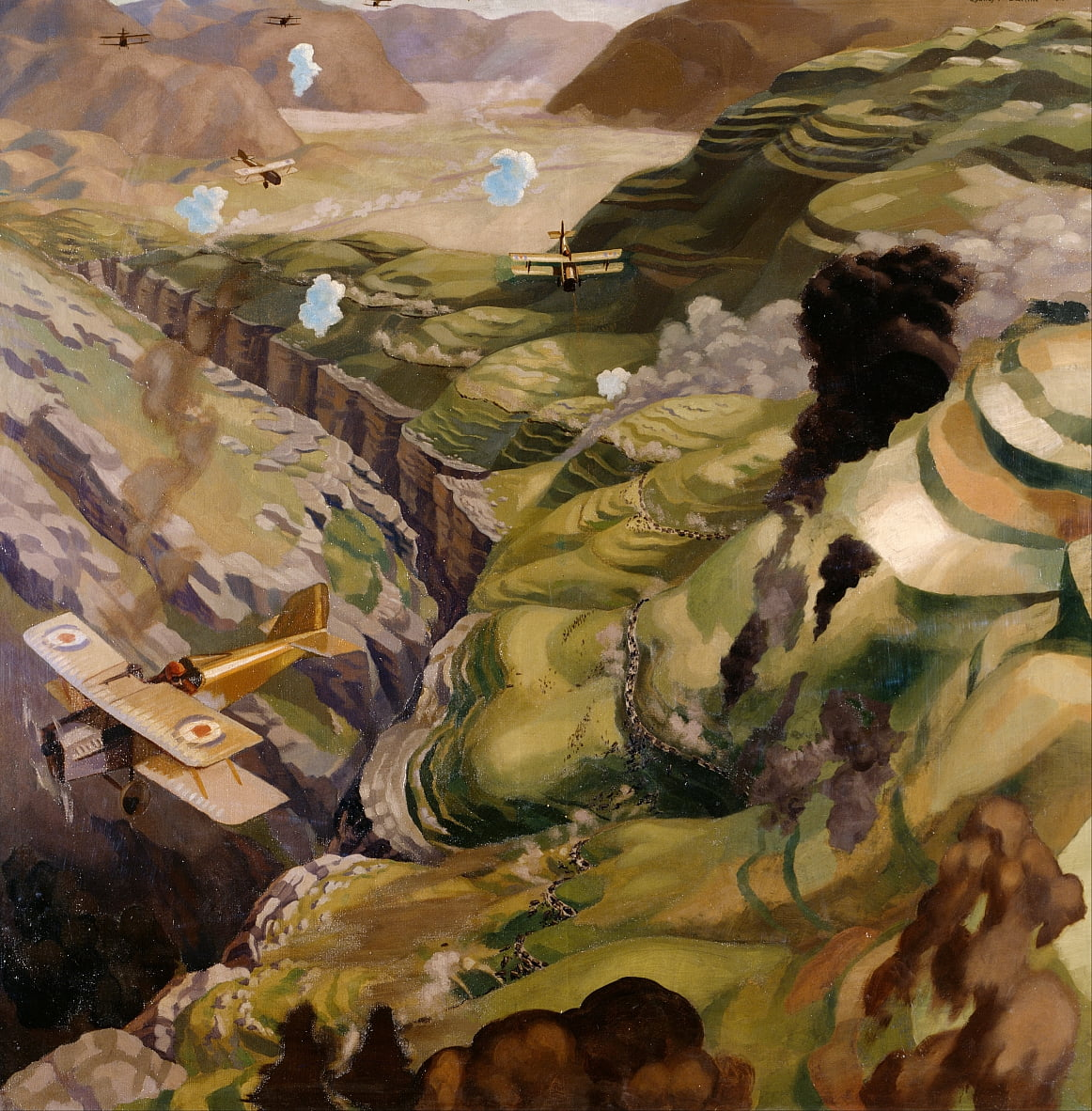 The Destruction of the Turkish Transport in the Gorge of the Wadi Fara, Palestine by Sydney Carline