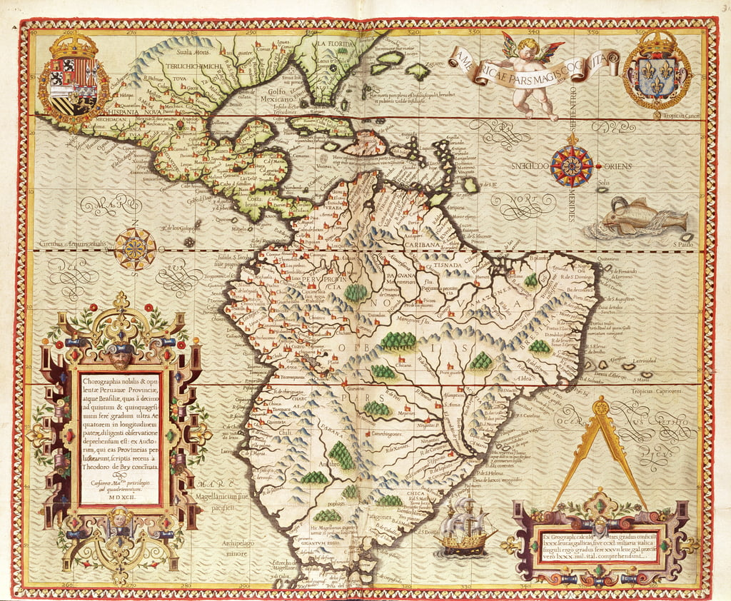 Map of Central and South America, from