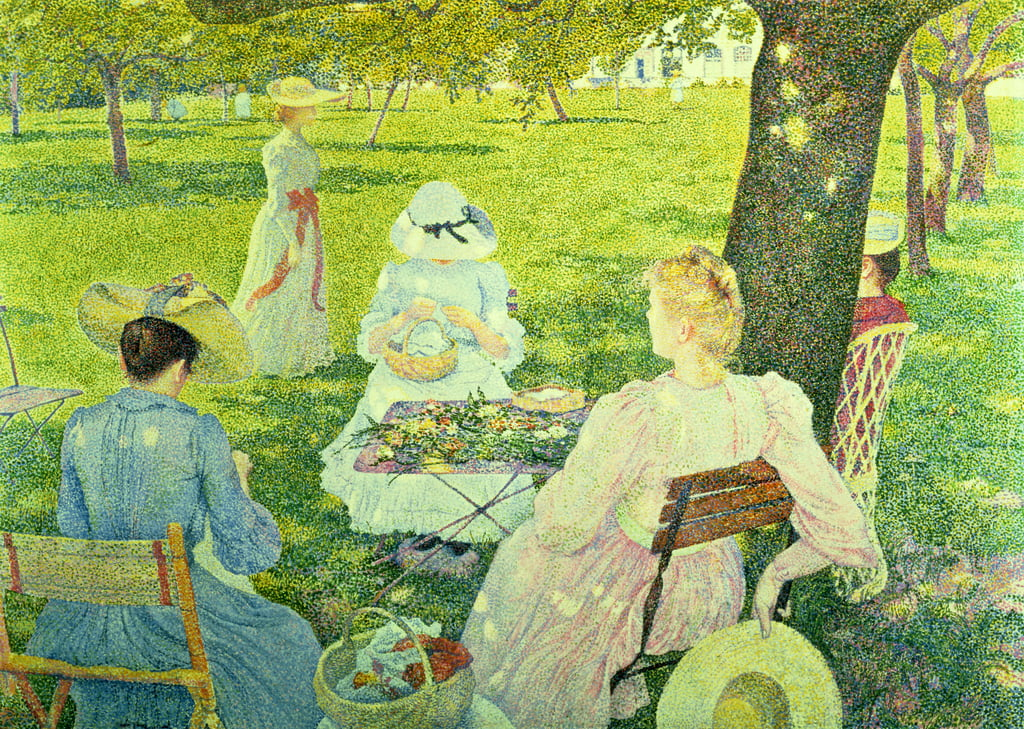 Family in the Orchard, 1890  by Théo van Rysselberghe
