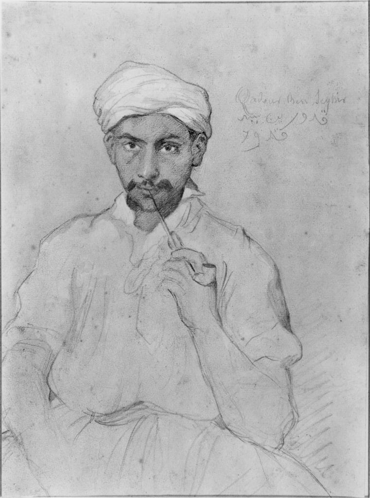 Arab smoking the pipe (pencil und gouache on paper) by Théodore Chassériau