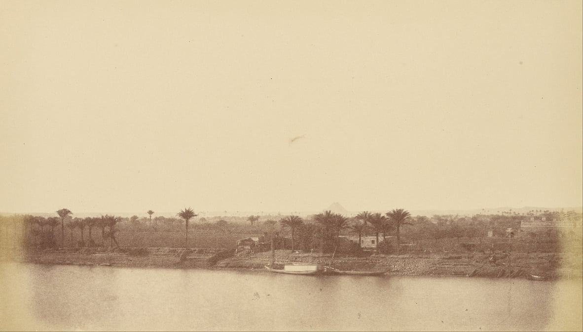 (Banks of the Nile with Palm Trees and Boat) by Théodule Devéria