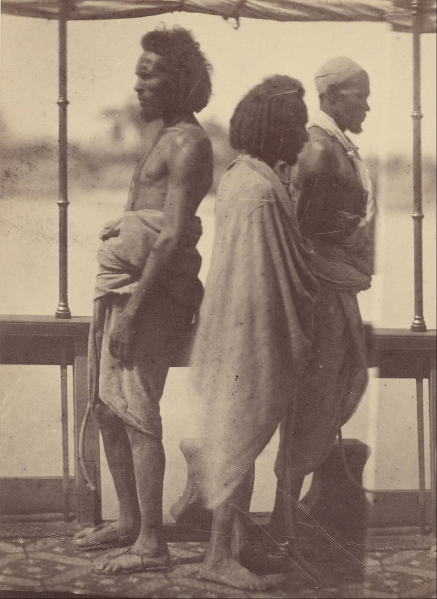 (Portrait of Three Native Men Standing in Profile) by Théodule Devéria