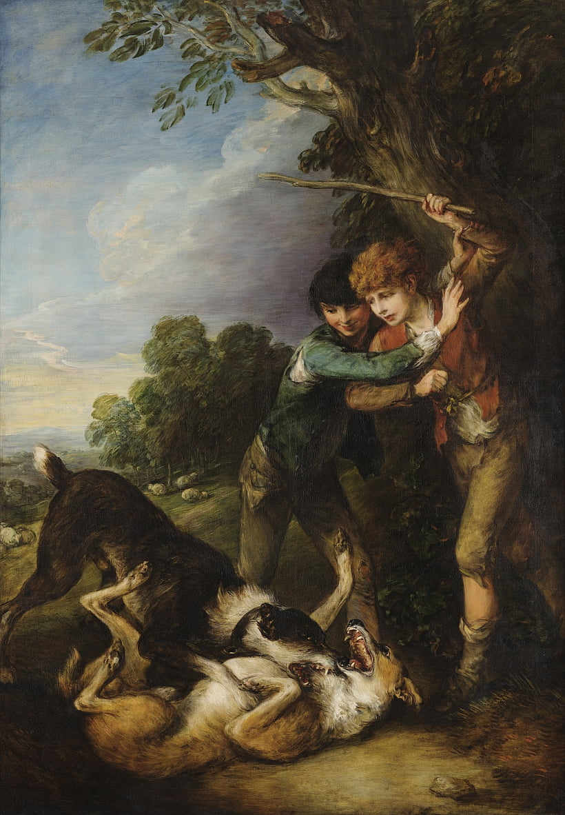 Two shepherd boys with dogs fighting by Thomas Gainsborough