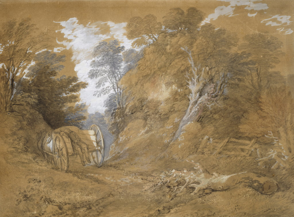 Wooded landscape with a peasant boy asleep in a cart (watercolour and bodycolour over faint indications in graphite on brown paper) by Thomas Gainsborough