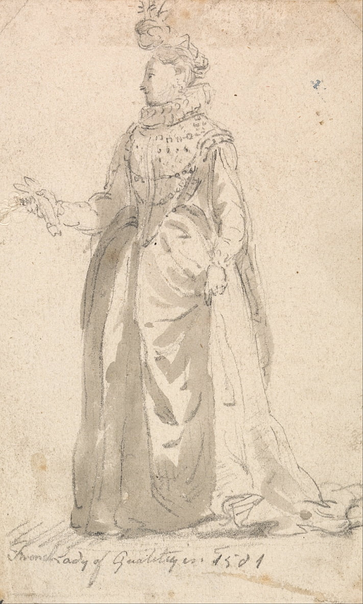 Figure Costume Study- French Lady of Quality in 1501 by Thomas Girtin