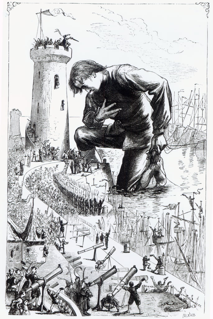 Gulliver kneels before the Lilliputians after stealing the Blefuscudian fleet, illustration from