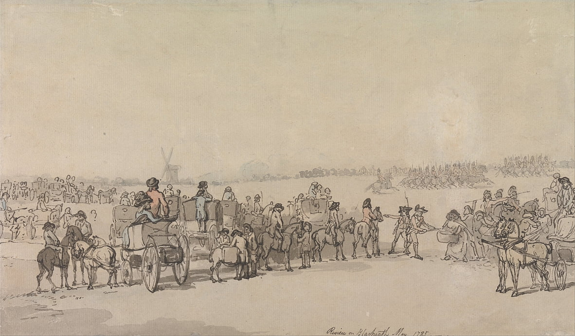 A Review on Blackheath, May 1785 by Thomas Rowlandson