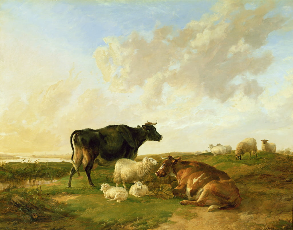 Landscape with Cows and Sheep, 1850  by Thomas Sidney Cooper