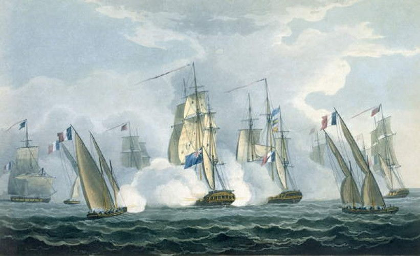 HMS Sirius, Captain Rowse engaging a French Squadron off the mouth of the Tiber, 17th April, 1806, engraved by T. Sutherland for