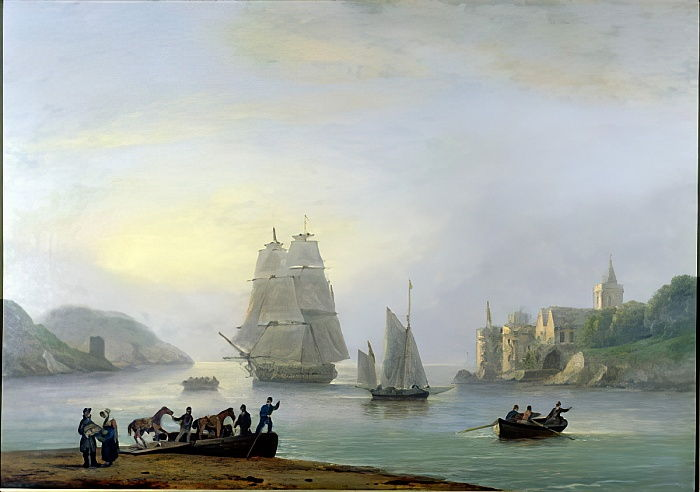 A Brig Entering Dartmouth Harbour, with a Ferry in the Foreground, 1828  by Thomas Luny