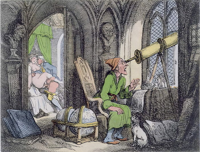 Astronomer Distracted, 1808-17 (aquatint) by Thomas Rowlandson