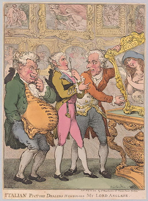 Italian Picture Dealers Humbuging My Lord Anglaise, pub. 1812 (hand coloured engraving) by Thomas Rowlandson
