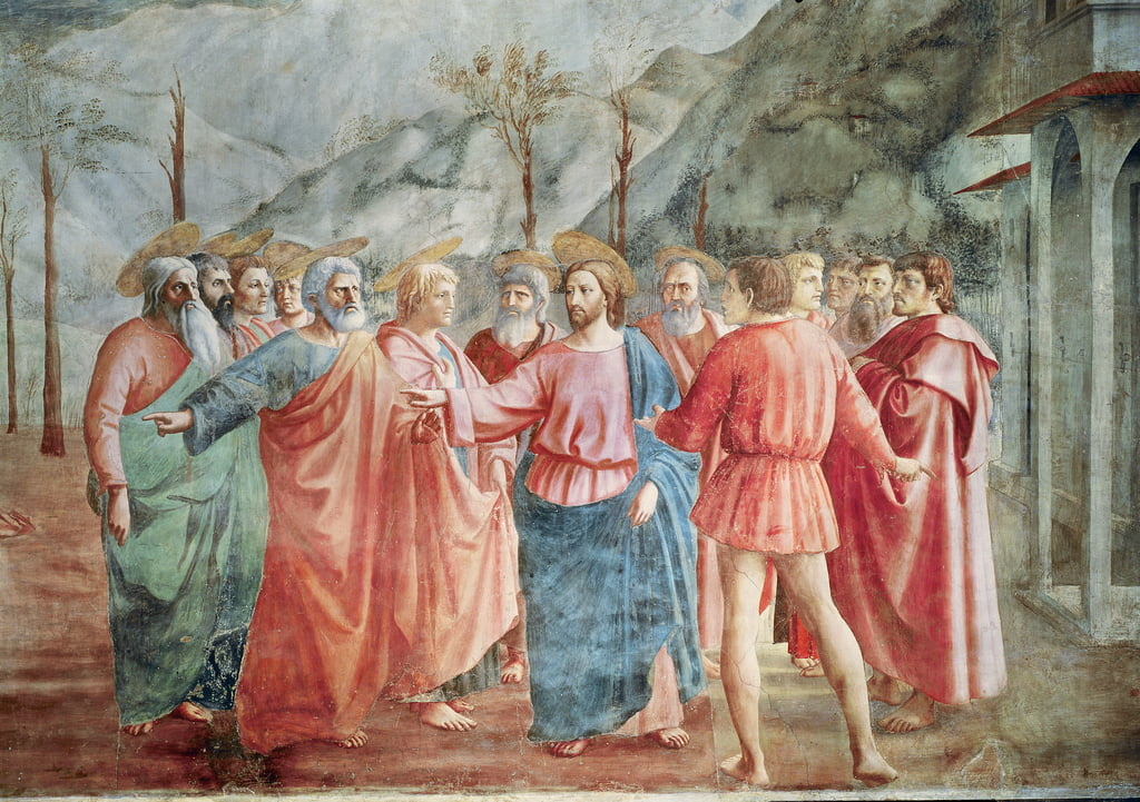 Detail of Christ and his disciples, from The Tribute Money, c.1427  (detail of 31642) by Tommaso Masaccio