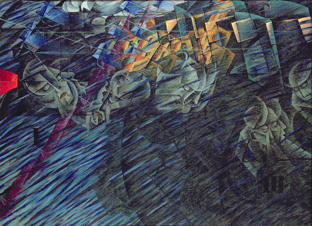 States of Mind: Those Who Go, 1911  by Umberto Boccioni