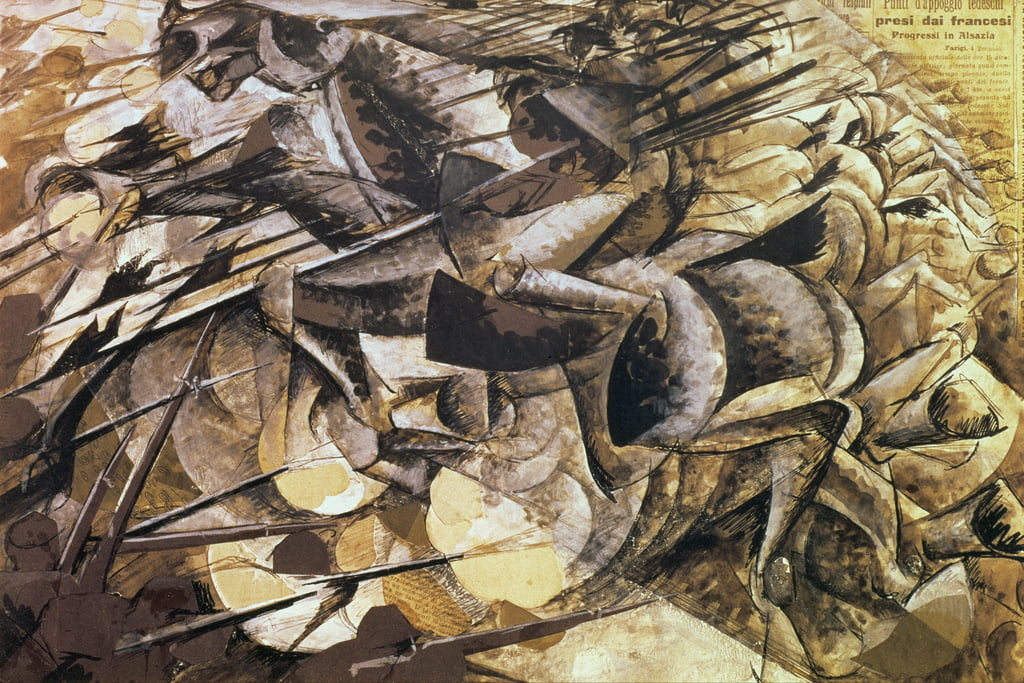 The Charge of the Lancers, 1915 (collage) by Umberto Boccioni