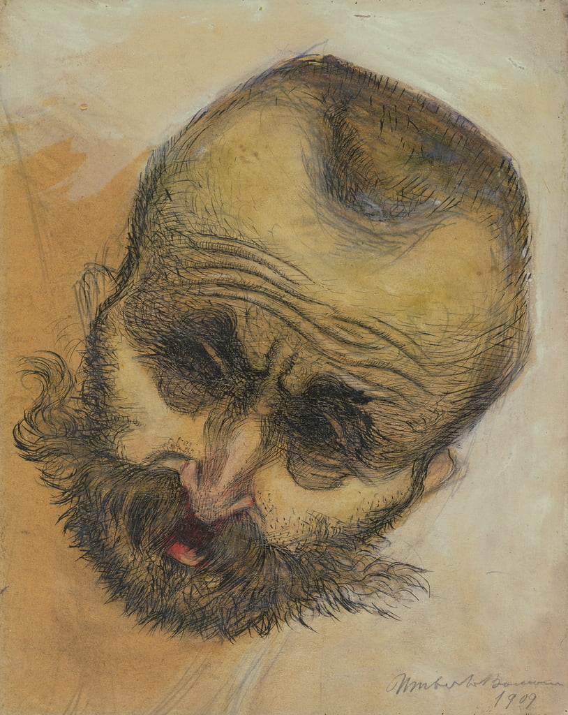 Head Study, 1909 (pen and ink wash) by Umberto Boccioni