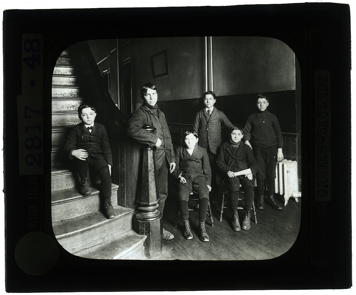 Six Greek boys posed on the stairs of Laclede School by Unbekannt Unbekannt