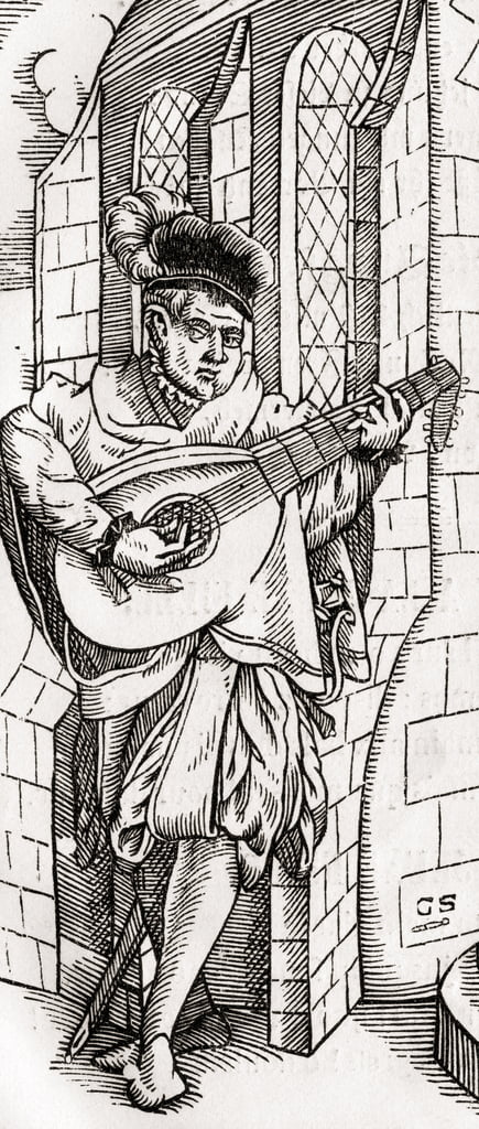 A Troubadour, detail of a woodcut, engraved by Georg Scharffenberg, from
