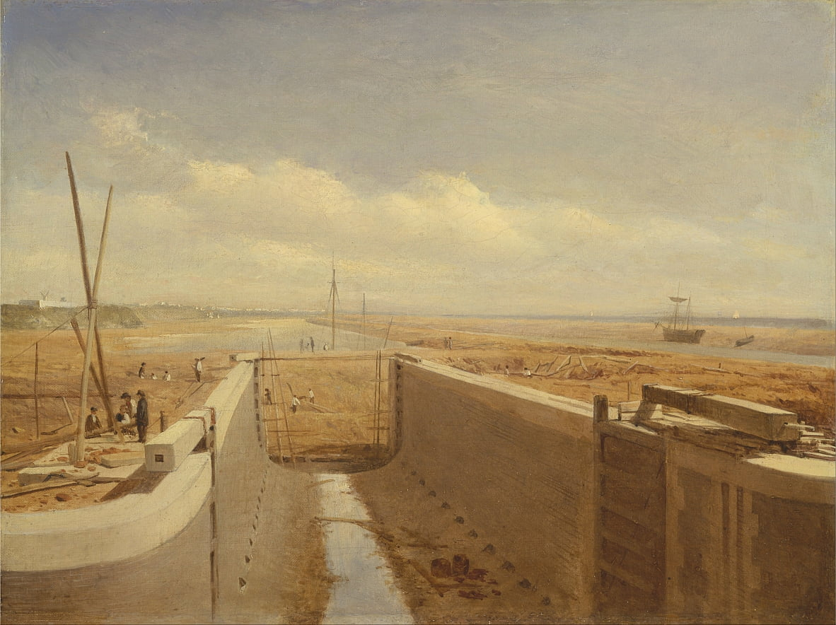 Canal under construction, possibly the Bude Canal by Unbekannt Unbekannt