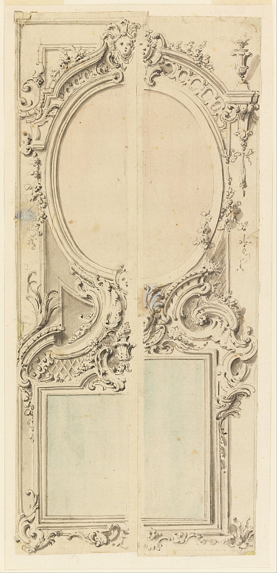 Design for a Panel with Two Mirrors by Unbekannt Unbekannt