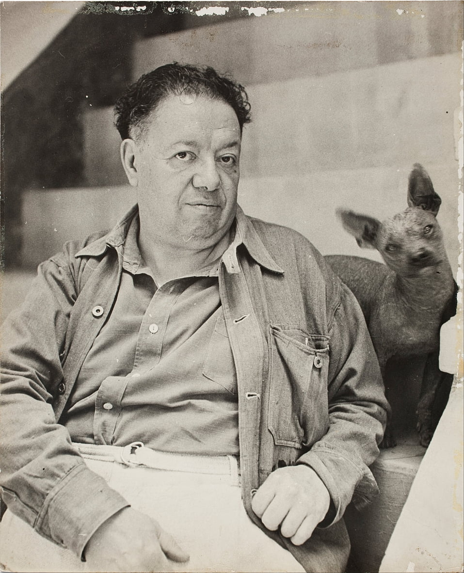 Diego Rivera with a xoloitzcuintle dog in the Blue House, Coyoacan by Unbekannt Unbekannt