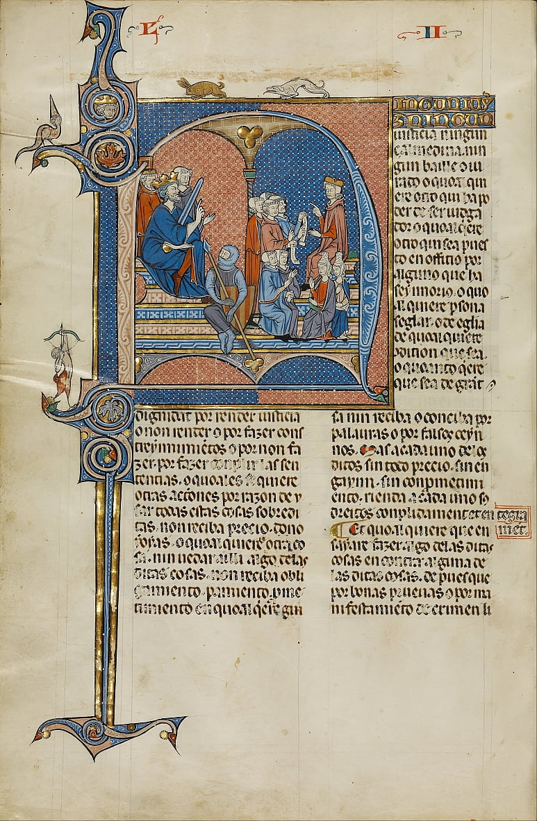 Initial N- James I of Aragon Overseeing a Court of Law by Unbekannt Unbekannt