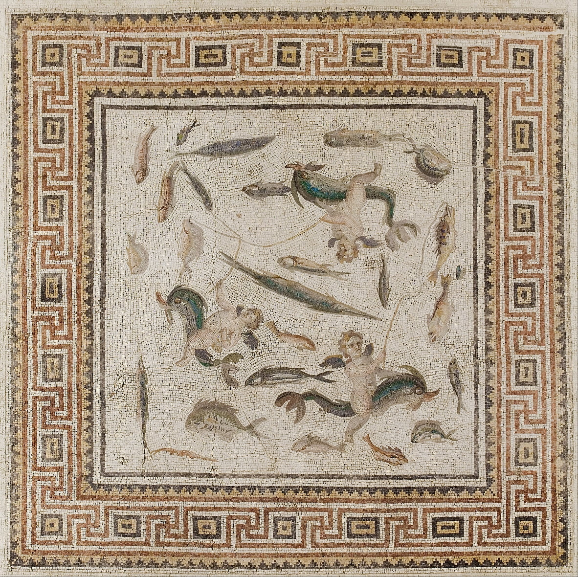 Marine mosaic (central panel of three panels from a floor) by Unbekannt Unbekannt