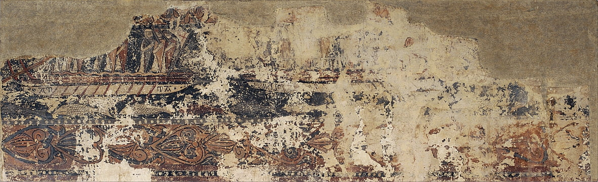 Profane paintings from Sigena- Naval battle between a Christian galley and a Saracen galley by Unbekannt Unbekannt