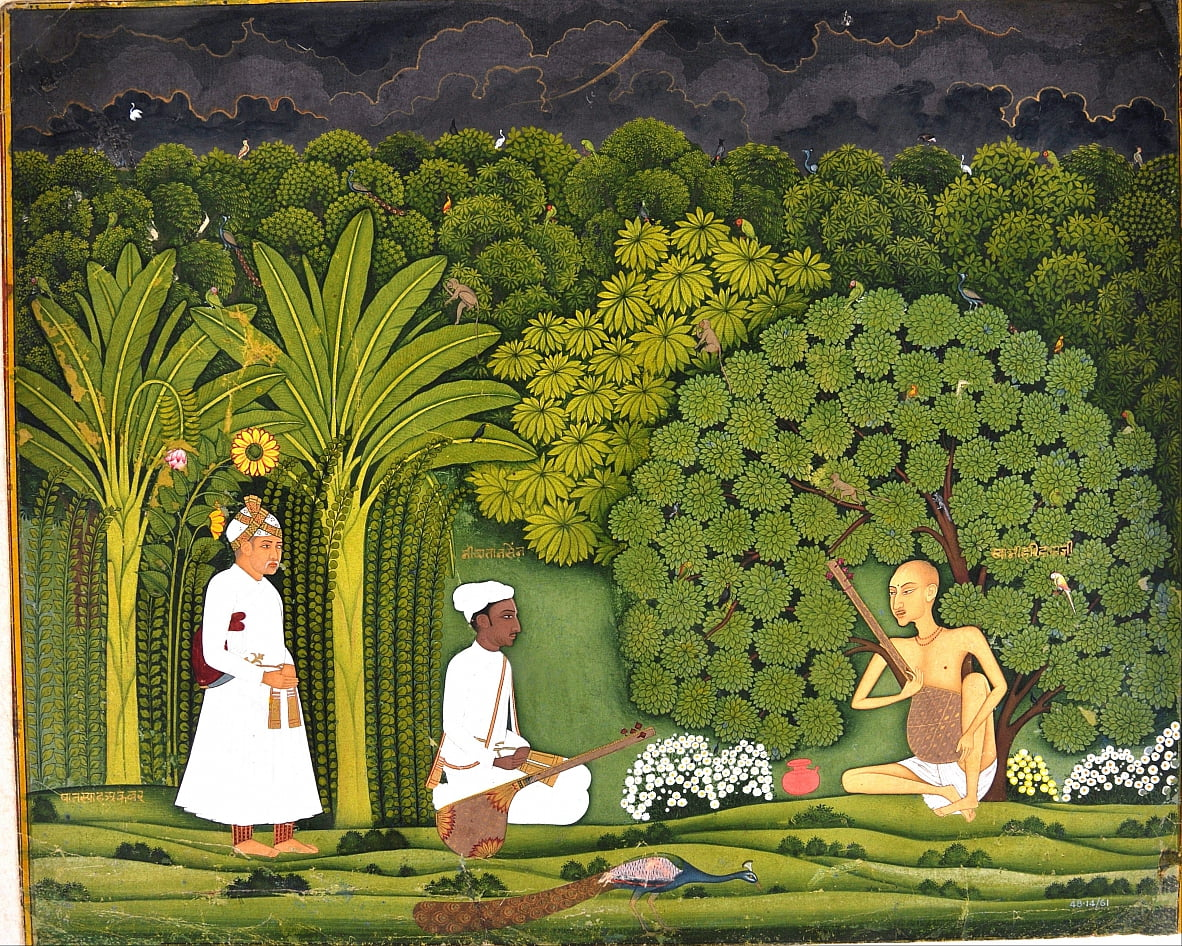 Swami Haridasa with Tansen and Akbar at Vrindavana by Unbekannt Unbekannt