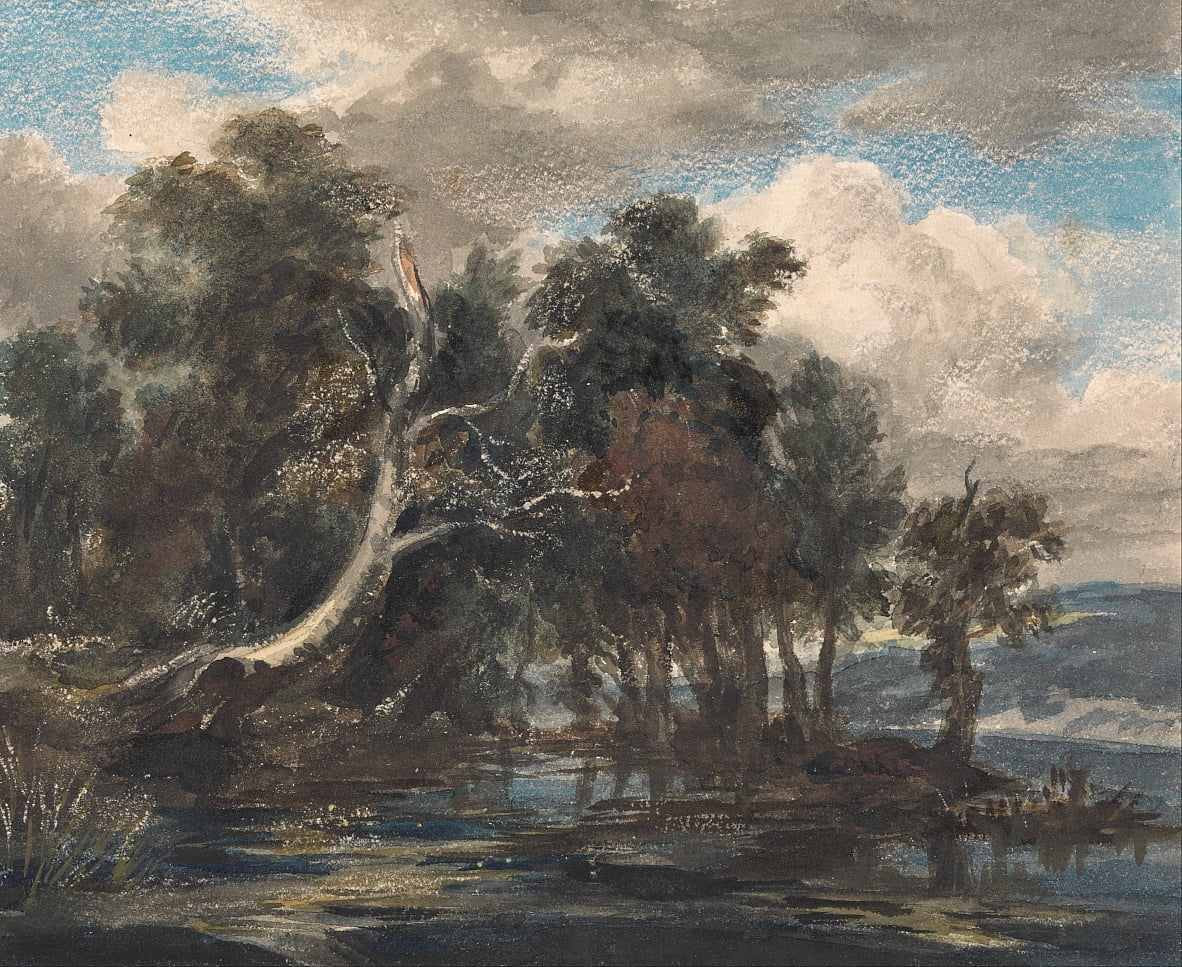 Trees by a River, Cloudy Sky by Unbekannt Unbekannt