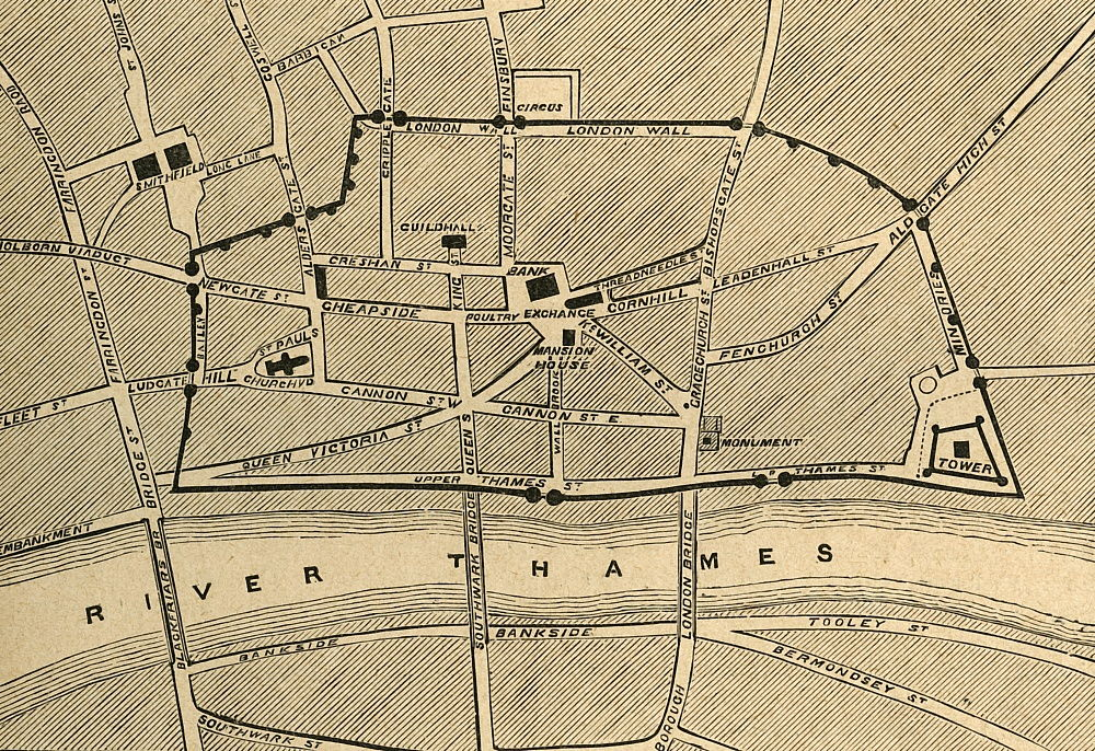Part of Modern London, Showing the Ancient Wall, 1897.  by Unbekannt