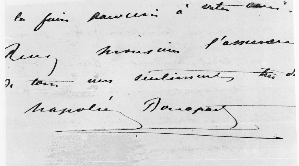 Handwriting and Signature of Napoleon Bonaparte (1769-1821) (pen and ink on paper)  by Unbekannt Unbekannt