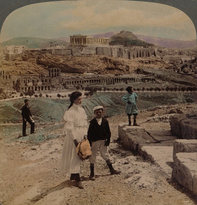 The Acropolis of Athens, Lycabettus and Royal Palace, from Philopappos monument, 1907. Artists: Elmer Underwood, Bert Elias Underwood. by Underwood and Underwood