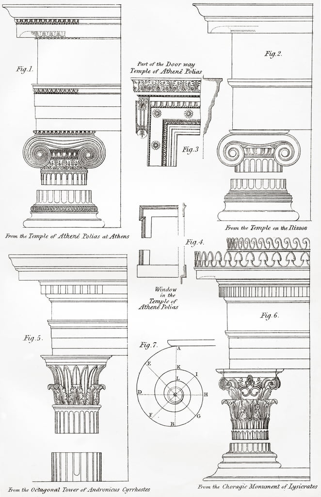Examples of Ionic and Corinthian orders in Greek architecture, from The National Encyclopaedia, published c.1890  by Unbekannt Unbekannt