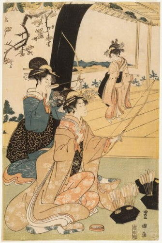 Young samurai and female attendants practising archery, half of a diptych, c.1800 (colour woodblock print) (pair to 499359) by Utagawa Toyokuni