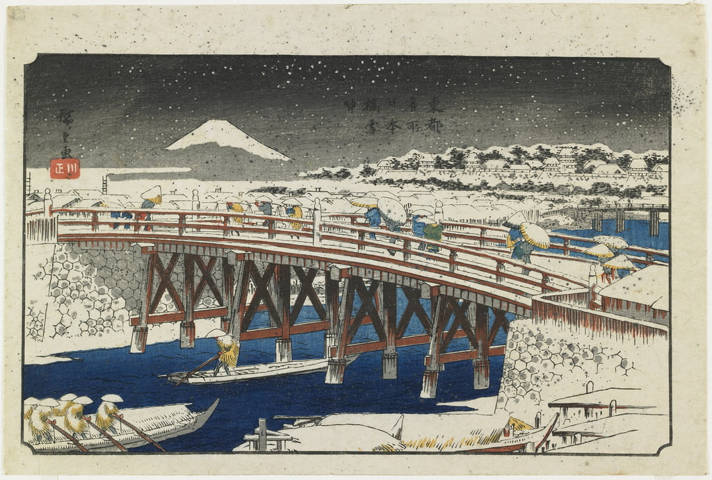 Nihonbashi Bridge in Snow, 1839-1842 by Utagawa Hiroshige