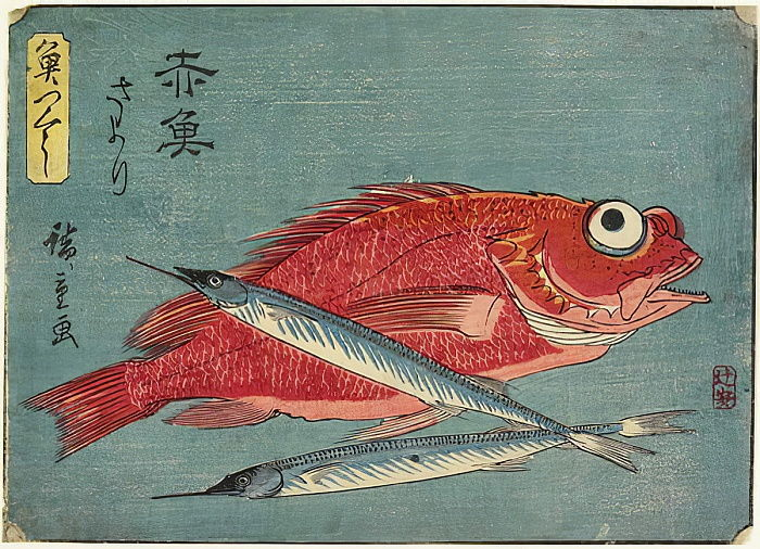 Red Snapper and Halfbeak, 1830-1844 by Utagawa Hiroshige