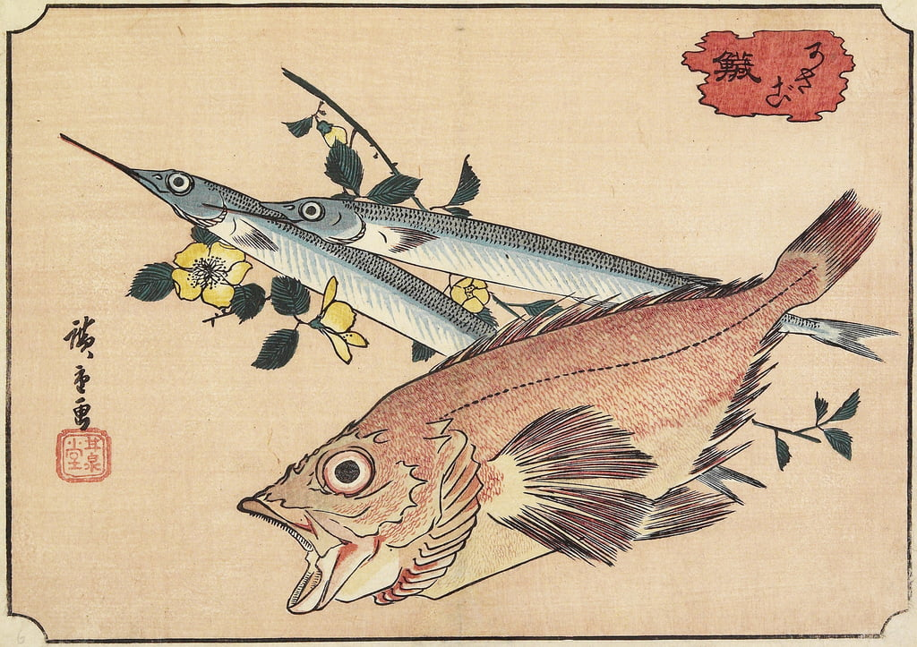 Rockfish and Halfbeak, early 19th century by Utagawa Hiroshige