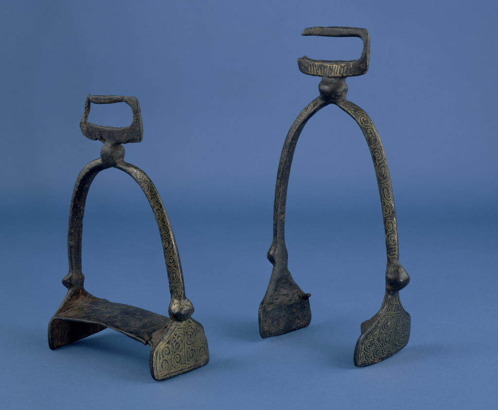 Stirrups found in the river Cherwell, Magdalen Bridge, Oxford, probably early 11th century (iron and brass wire) by Viking