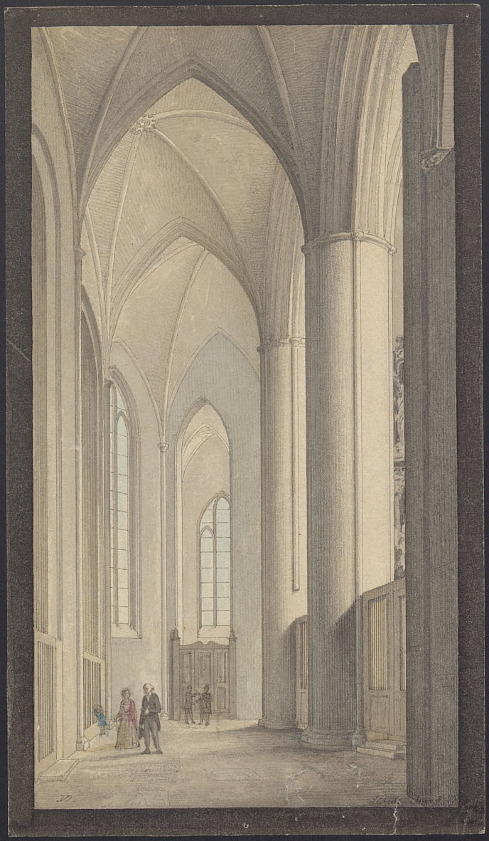 Interior of Lübeck Cathedral 1855 by Vilhelm Dahlerup
